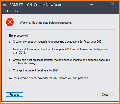 the fiscal year without adding the historical transactions in Sage