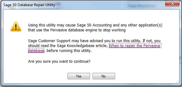 Sage Database Repair Utility