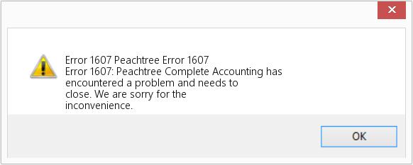Sage error 1607 peachtree error 1607
