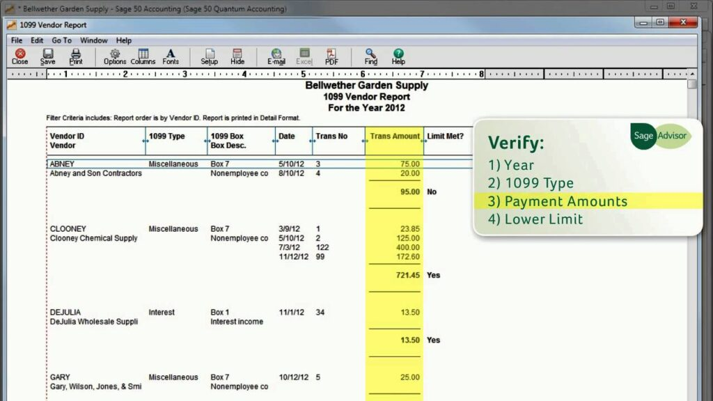 Print 1096 1099 Forms in Sage 50