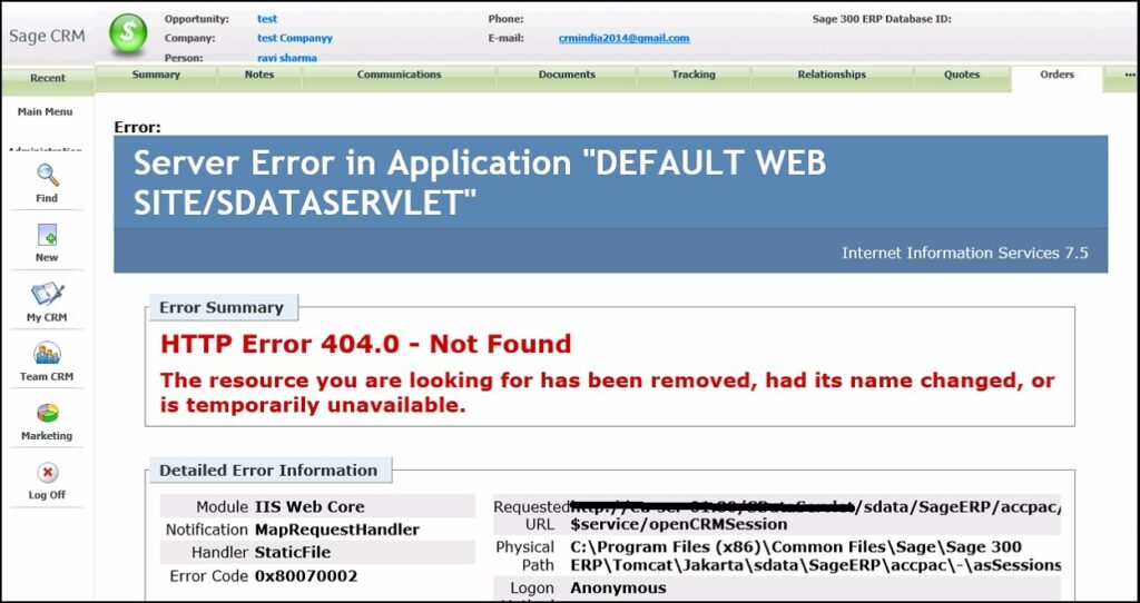 Sage 50 404 Error While Loading Portal WebPage