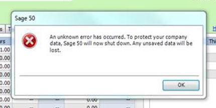 Sage 50 unknow error has occurred